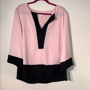 New York & Company Beige and Black Blouse